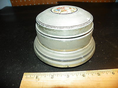 Vintage Musical Aluminum Powder Box w Victorian Couple on Top                  +