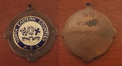 North Eastern Counties ASA Highboard Diving Medal - engraved to the reverse 1976