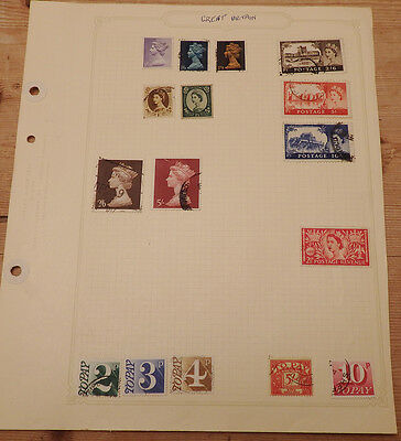 Page of 11 GB Stamps used Queen Elizabeth II + 5 to pay stamps