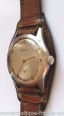 Vintage & Rare ZENITH Military curved lugs Original strap, excellent 1940' WW 2