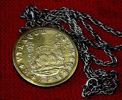 Silver PENDANT with Superb 1736 Pillar 8 Reale HOLLANDIA shipwreck 1743 Scilly