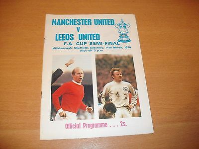 1970 FA CUP SEMI FINAL MANCHESTER UNITED v LEEDS UNITED  PROGRAMME