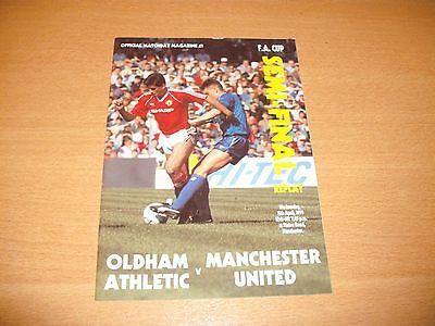 1990 FA CUP SEMI FINAL REPLAY OLDHAM v MANCHESTER UNITED PROGRAMME