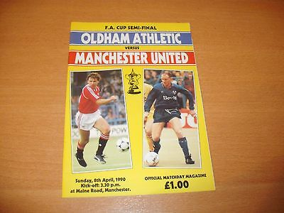 1990 FA CUP SEMI FINAL OLDHAM v MANCHESTER UNITED PROGRAMME