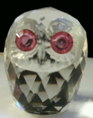 crystal owl figurine with pink eyes