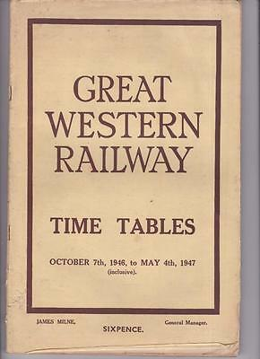 Great Western Railway Timetable Book Oct 1947 With Route Map