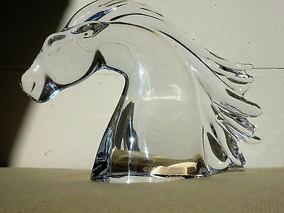 Vintage French  Daum Signed Glass Crystal Horse Head