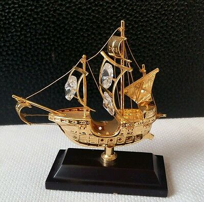 "swarovski crystal 24k gold plated galleon - 4"" high"