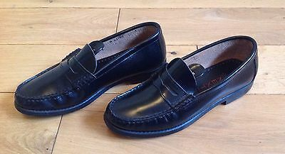 Next Black Leather Loafer Shoes Size 4 Women's / Girls.