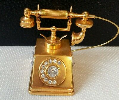 Telephone 24k Gold Plated Figurine with Swarovski Crystals
