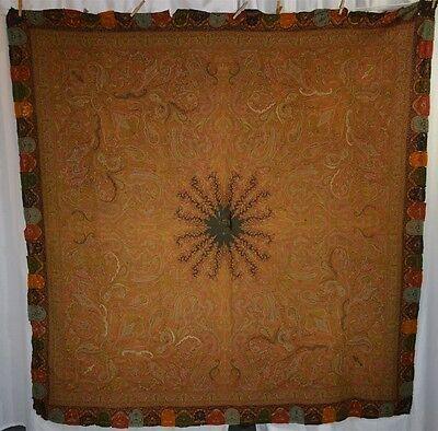 paisley shawl throw embroidered border early 1800 rough cutter antique original