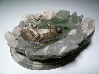 Cute collectable Otter Swimming on Back in Rock Pool unusual ornament