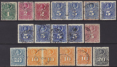 18 Chile 1877-1878 Definitive 1c-20c Used Stamps incl Pairs from SG52-SG62 range