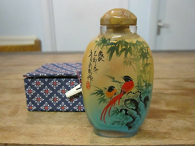 Chinese reverse painted birds glass snuff scent bottle signed and boxed