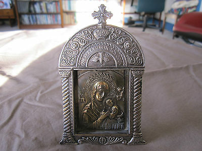 Antique travelling icon Madonna Jesus. Silver / silver plated? Russian / Greek?
