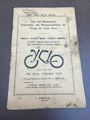 Cycle Bike Bicycle Cycling Cyclo Gear Co Components Instructions Old Raleigh