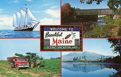Welcome To Beautiful Maine Multiview Unused Postcard
