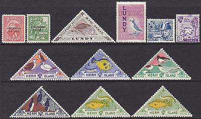 GB QEII Herm Island 1945-59 4dbl-1s & Lundy 1953-62 1/2p-12p MNH MH Used Stamps