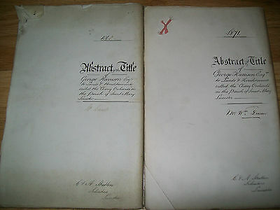 indenture 2 x abstract of title cherry orchards,leicester.1868 & 1871