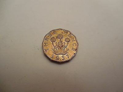 1937 George VI Brass Threepence Uncirculated High Lustre