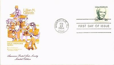 Dr Jim Stamps Us Lillian Gilbreth Great Americans First Day Cover Montclair 1984