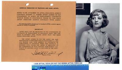 Tallulah Bankhead vintage signed contract AFTAL