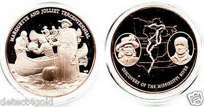 Marquette & Jolliet Discovery of The Mississippi River Proof Bronze Coin Medal