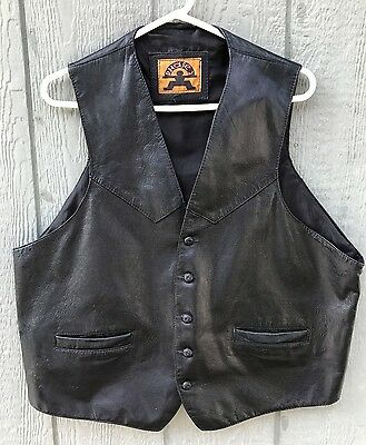 Men's Vintage 80's PHASE 2 Black Leather Western Motorcycle Riding Biker Vest XL