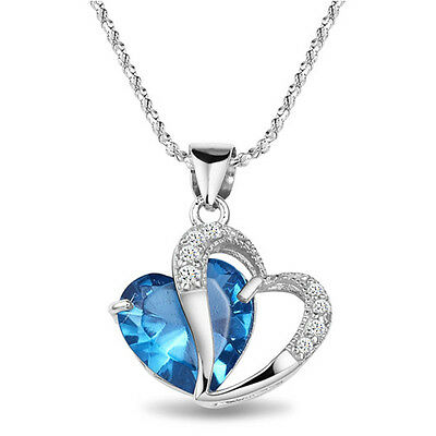 Women Heart Aquamarine Crystal 18K White Gold Plated Pendant Necklace