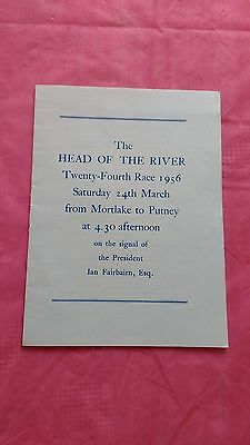 Head of The River Mortlake to Putney 1956 Rowing Programme