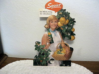 Squirt Unused 1964 Bottle Topper, Girl With Basket Of Grapefruit And Bottle