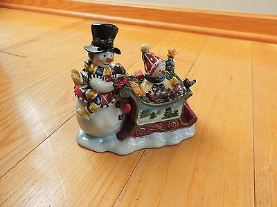 Snowman Sled Musical Box Sleigh Christmas Decoration Figurine (c545)