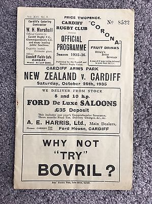 Extremely Rare Rugby Programme All Blacks Tour 1935