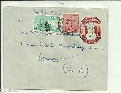 India - Pre Paid 2 Annas Envelope - 1953.