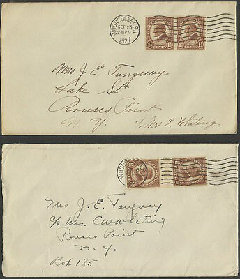 Woonsocket, RI 1927 cancel ties #631 [prs.] to 2 covers.  Nice study lot.