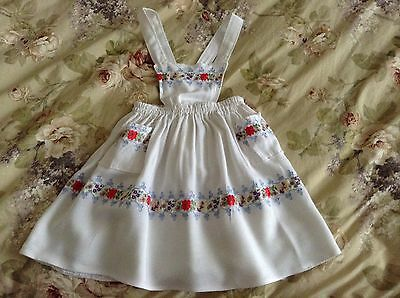 Vintage Girls White Pinafore Dress With Floral Trimming