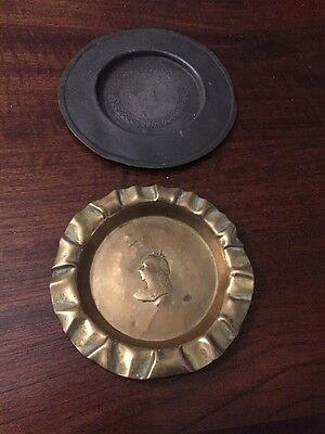 Rare Antique Victorian Brass And Pewter Tip Or Card Trays