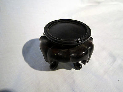 A VINTAGE A LITTLE UNUSUAL CHINESE HARDWOOD VASE STAND 6.5cm ring