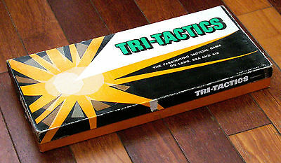 1950s TRI-TACTICS Vintage British Board Game Complete 112 Pieces & Metal Stands