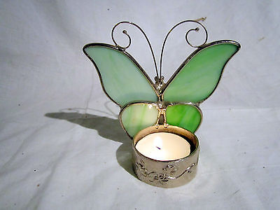 Coloured Glass And Metal Butterfly Tea Light Holder