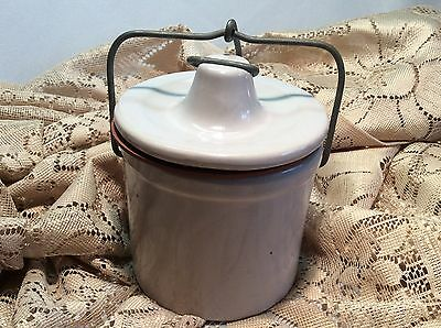 Vintage Antique Lard Cheese Crock Jar with bale wire crock lid Stoneware