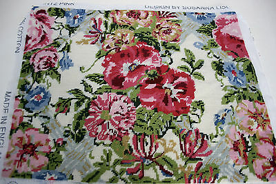 Ehrman 1989 Chintz Pink Susanna Lisle Completed Tapestry Needlepoint Kit Vgc