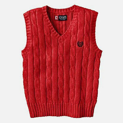 CHAPS BOYs SWEATER VEST - Size XL (18-20) - Red - V-neck - Cotton - NWT