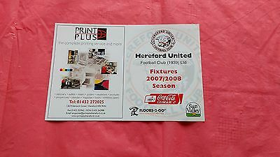Hereford United 2007-08 Used Football Fixture Guide