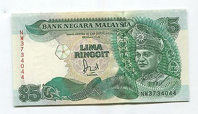 Malaysia $5  Ringgit  1995   Currency Note   -- We Combine Shipping