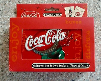 Coca Cola Twin Pack of Playing Cards, New In Collector Tin, Bicycle