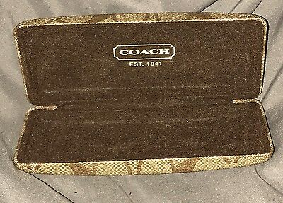 Coach Eyeglasses Case Signature C Brown Hard Shell Rectangle Case