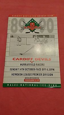 Cardiff Devils v Murrayfield Racers October 1989 Ice Hockey Programme