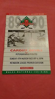 Cardiff Devils v Peterborough Pirates March 1990 Ice Hockey Programme