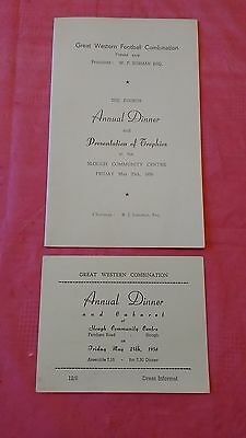 Great Western Football Combination 1956 Annual Dinner Menu and Ticket